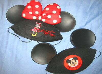 2-HAT LOT--MICKEY MOUSE & MINNIE BOW EARS LOVE & KISSES DISNEY WORLD w/embr