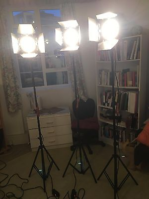 Kit 3x Dynaphos 800W Professional Continuous Halogen Light w/ Dimmer Stand