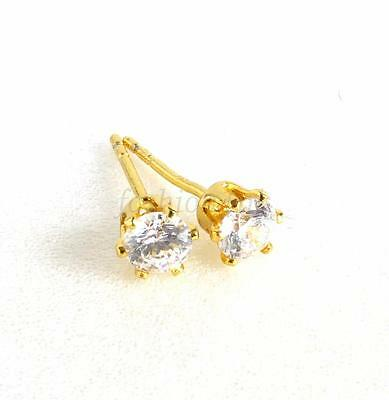 4mm 24K Yellow Gold Plated Simulated Diamond Men Boy Unisex Small Stud Earrings