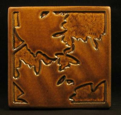 Arts and Crafts Motawi 6x6 Maple Leaf Tile in Sepia Relief Tile