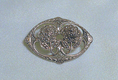 Awesome, Oval Art Deco Sterling Silver Brooch Marcasite Roses, Filigree Setting