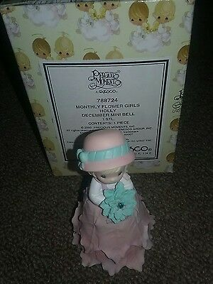 Precious Moments MONTHLY FLOWER GIRL DECEMBER Holly  Mini Bell