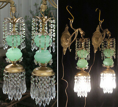PR Vintage Sconce lamp Murano Jade Opaline Glass Bronze Brass tole crystal beads