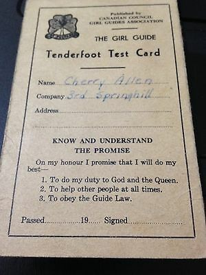 The Canadian Coucil Girl Guides Association - VINTAGE Tenderfoot Test Card