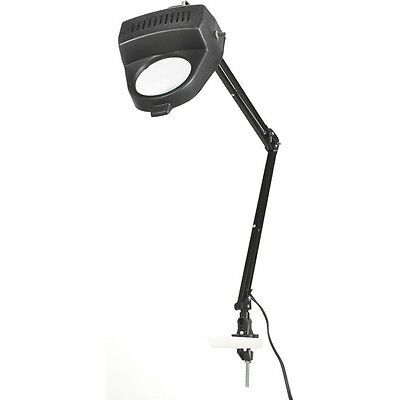 Black Clamp on Swing Arm Lighted Magnifying Lamp Work Desk Table Magnifier