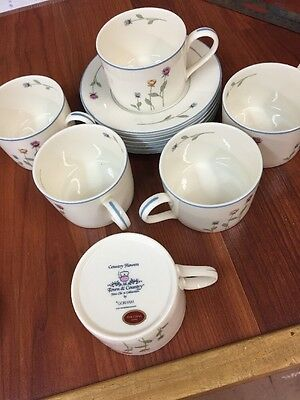 Gorham  Town And Country Line Country Flowers -  6 Cup And Saucers