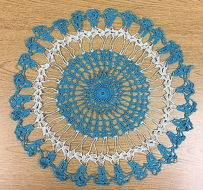 A2 Vintage Crochet Work Doily Center Piece Blue And White Glittery Large Round