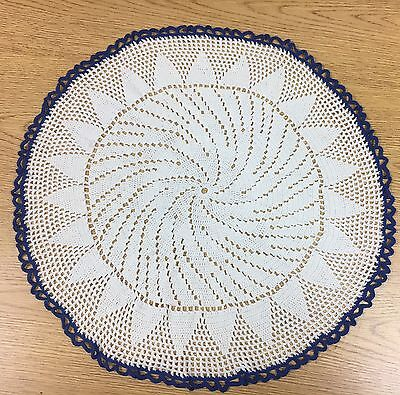 A2 Vintage Crochet Work Doily Center Piece Shabby Chic Blue White Round Large