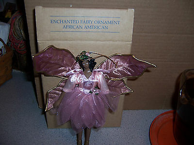 """New In Box Avon 2000 Enchanted  Fairy Ornament """"african American"""" Pink Dress"""