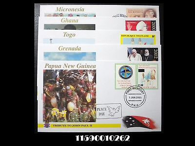 VATICAN CITY. Worldwide Tribute to Pope John Paul II. 5 FDC Lot. 11590010262