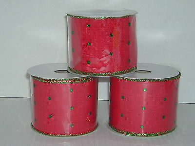 """Wired RIBBON * 2.5"""" x 3.5 yds * 3 Rolls Red with Green Rhinestone Jewels"""