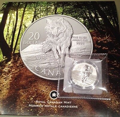 2013 Canada $20 for $20 - Arctic Wolf - 0.9999 Fine Silver- coin only, no folder