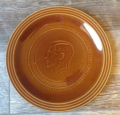 Plate Commemorating Coronation of King Edward VIII Brown Ironstone 1937