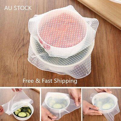 4PCS Silicone Food Covers Safety Reusable Silicone Food Wrap Film Seal Stretch