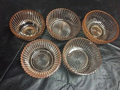 Queen Mary Pink Depression Glass Anchor Hocking Lot 5 Ribbed Berry Sherbet Bowls