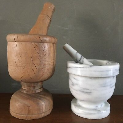 Antique Apothecary Wooden Drugstore Mortar & Pestle Set Dominican Republic Wood