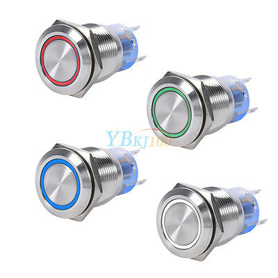 19MM 12V LED Annular Flat Stainless Self-locking Latching Push Button Switch AF