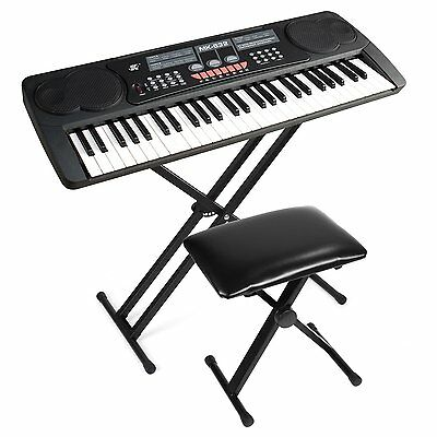 Heavy Duty Folding Double X Frame Adjustable Keyboard Stand Piano + Black Seat