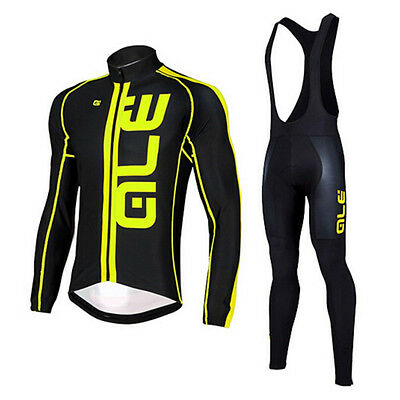 D7V081 New Outdoor Wear Thermal Fleece long sleeve cycling jersey sets Bib Pants