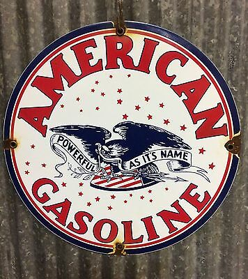 American Gasoline, Porcelain Sign, Pump Plate, Lubester, Gas, Oil