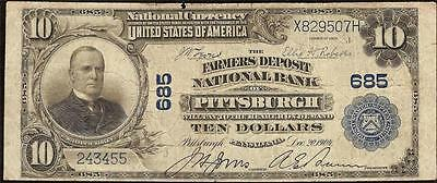 Large 1902 $10 Dollar Bill Farmers Deposit National Bank Note Big Currency Money