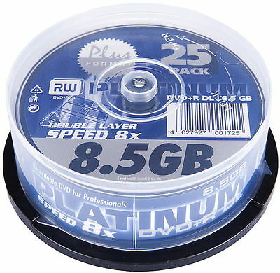 25 Platinum Rohlinge DVD+R Double Layer 8,5GB 8x Spindel