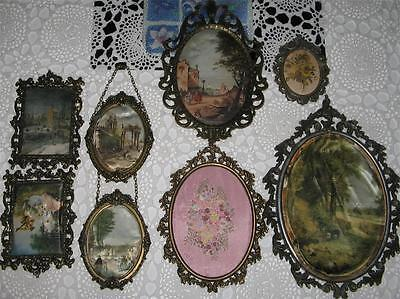 8 Lovely Vintage Brass Frames Most With Silk Pictures - India - Ok 4 Age