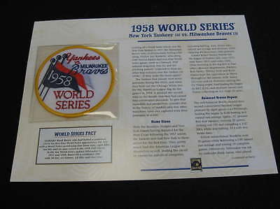 1958 World Series Yankees Vs  Braves Cooperstown Collection Patch Lot1871