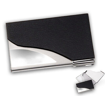 New Black PU Leather & Stainless Steel Business Name Card Case Holder Portable