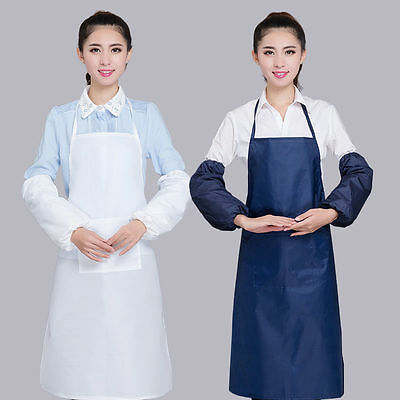 Kitchen Apron Oversleeve Set Unisex PVC Waterproof Apron Uniform & Work Clothing