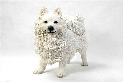 Standing Japanese Spitz Statue New Realistic Life Like Details Home Garden Decor