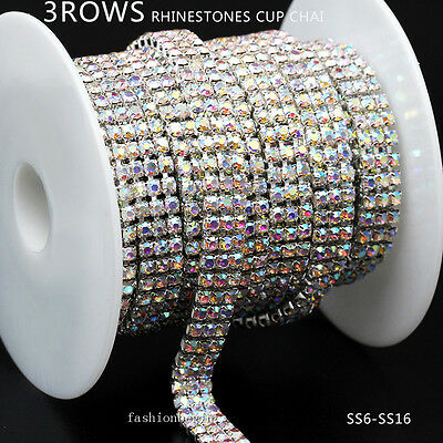 3-row ss6/ss8/ss12/ss16 Crystal AB Rhinestone Close silver cup Chain Trim 1/10yd
