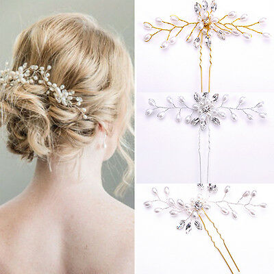 Charm Women Hair Clip Handmade Pearl Crystal U Shaped Bridal Hair Accessories