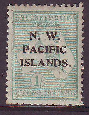 N.W.P.I. SG113a 1/- PALE BLUE-GREEN KANGAROO TYPE P over IS MINT UH