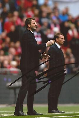 ASTON VILLA: TIM SHERWOOD SIGNED 6x4 2015 FA CUP WEMBLEY ACTION PHOTO+COA