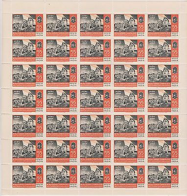 India 1964 55Np Subhash C Bose Azad Hind Fauj Ina Complete Sheet Of 35 Stamps.