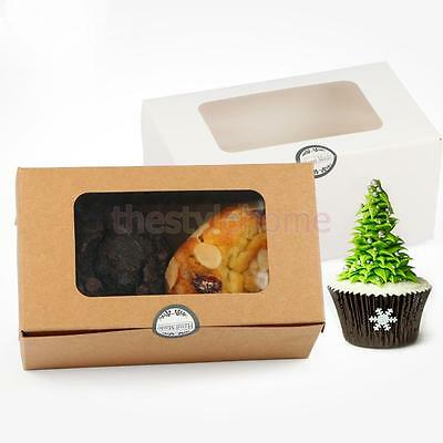 MagiDeal 20x Kraft Paper Cupcake Box Carrier Bakery Box with Window-White /Brown