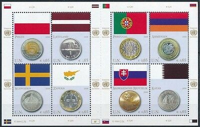 United Nations – Vienna stamp 2008 Flags and coins minisheet MNH Mi 530-537 (680