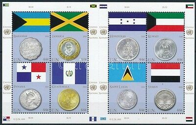 UNO – New York stamp 2010 Flags and coins minisheet MNH Mi 1177-1184 (336)