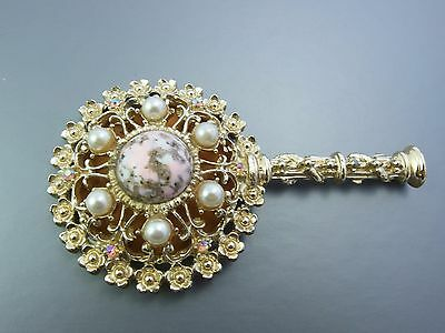 Vintage 'Sam Fink' Ornate Small Handheld Purse Mirror 1950/60's era Gold tone