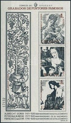 Uruguay stamp 1978 Paintings block with serial number MNH Mi 37 (123)