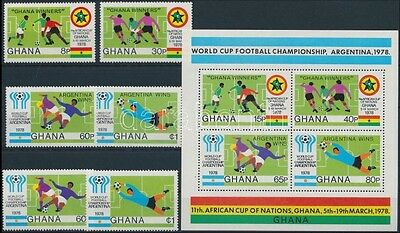 Ghana stamp 1978 Football World Cup set + block MNH Mi 771-774A+ 78A (776)