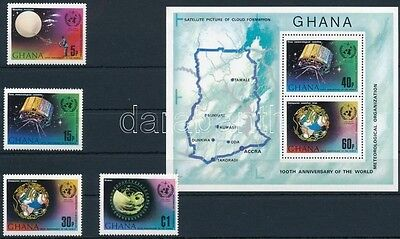 Ghana stamp 1973 Space research set + block MNH Mi 520-523A + 51A (777)