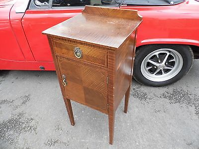 Antique Edwardian Pot cupboard / bedside cupboard with drawer, in-layed