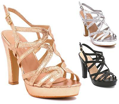 Womens Ladies High Heel Strappy Platform Sandals Celeb Open Toe Party Prom Shoes