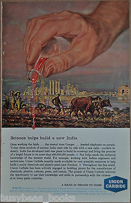 1962 UNION CARBIDE advertisement, India Chemical spill premonition,  Bhopal