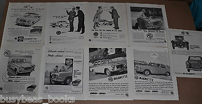 1959-64 MG MAGNETTE advertisements x9, British adverts, Magnette Mark III