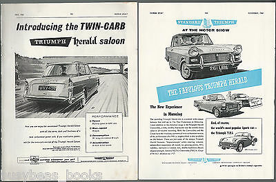1960 TRIUMPH HERALD advertisements x2, from British magazines