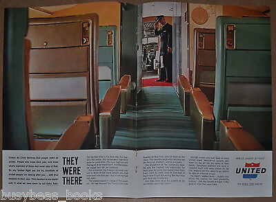 1962 UNITED AIRLINES 2-page advertisement, DC-8 interior photo, Aisle & Pilot