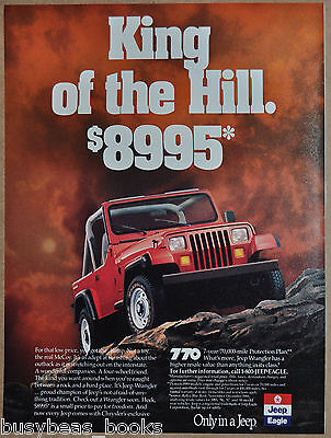 1989 JEEP WRANGLER advertisement, Jeep-Eagle Wrangler, red Jeep